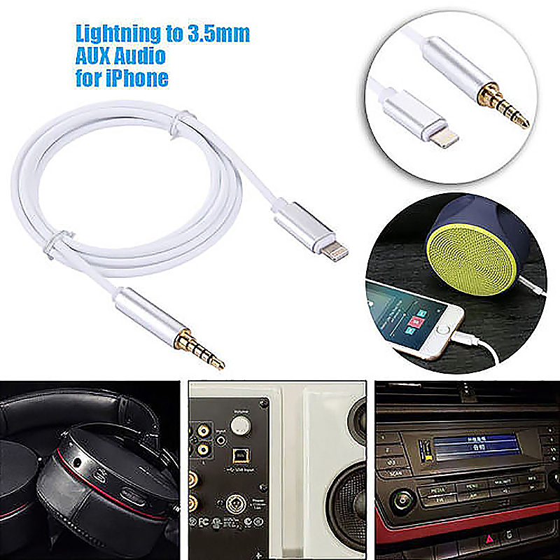 8 Pin to 3.5mm Male Jack AUX Audio Stereo Adapter Cable Compatible with Latest iOS 12.1.4 - Silver