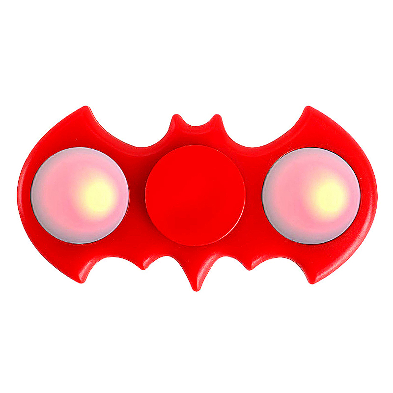 LED Light Up Bat Shaped Fidget Spinner EDC Hand Finger Toy - Red