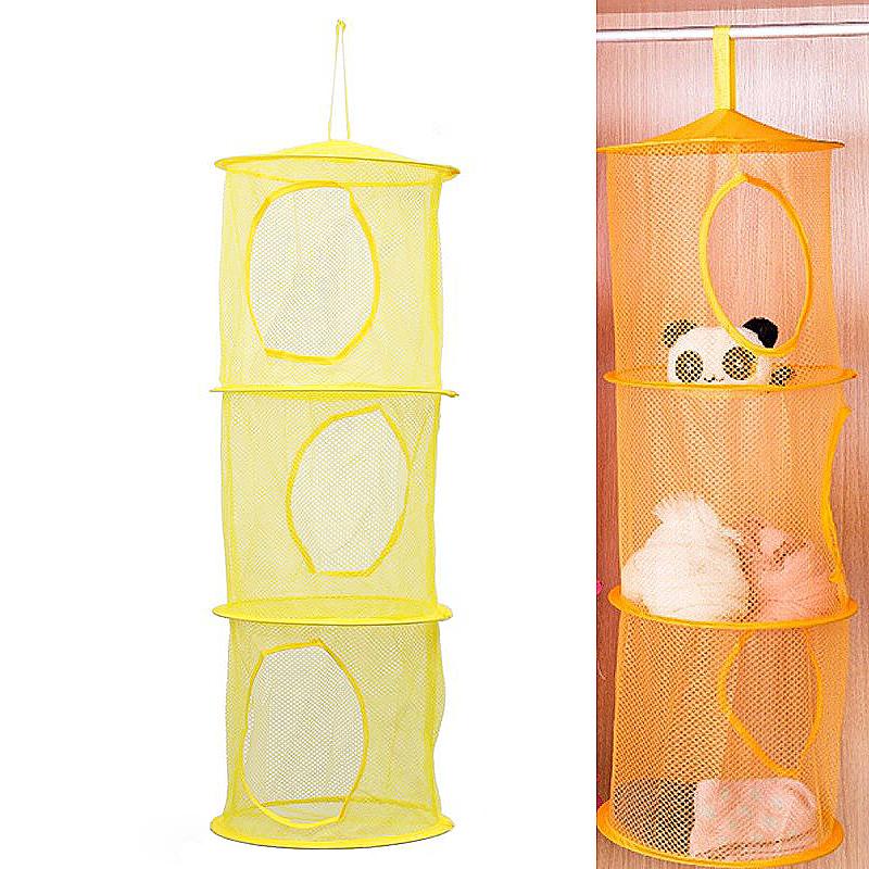 Foldable 3 Tiers Hanging Storage Net Bedroom Mesh Bag Kids Toy Organizer - Yellow