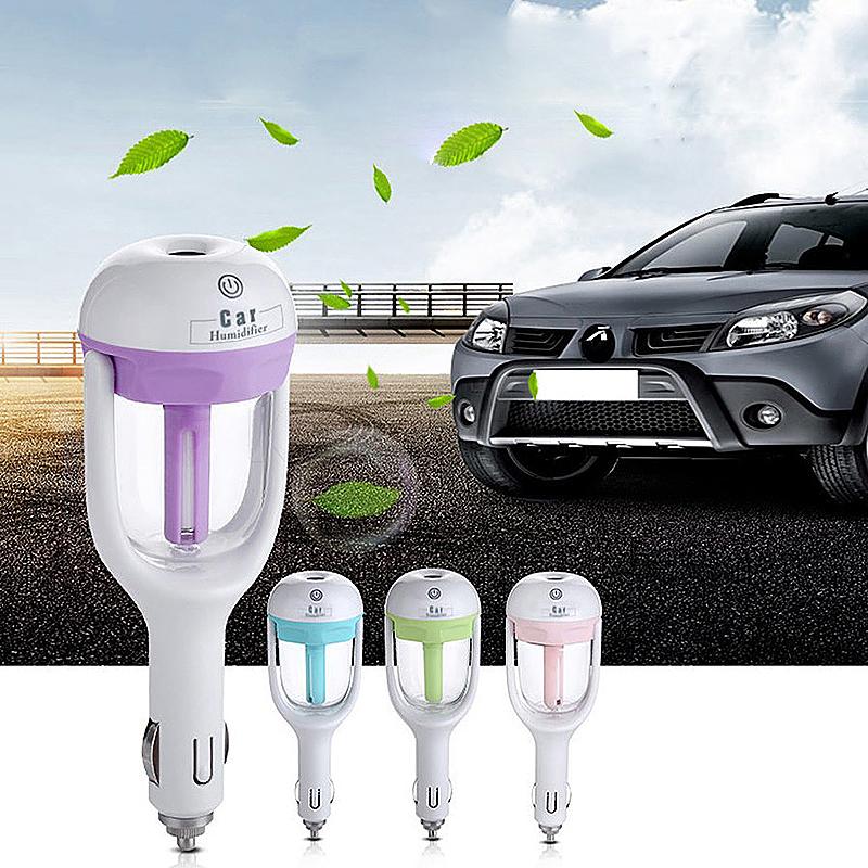 12V Car Steam Humidifier Air Fresh Purifier Aroma Oil Diffuser - Pink