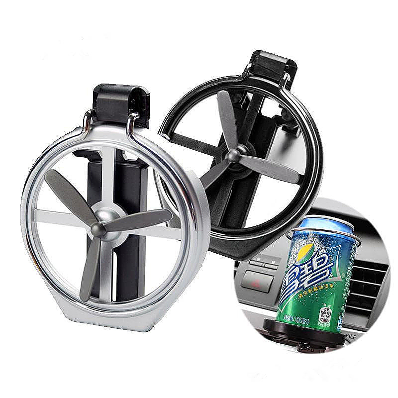 Car Fan Vehicle Air-Outlet Folding Mount Drink Liquid Bottle Cup Holder - Silver