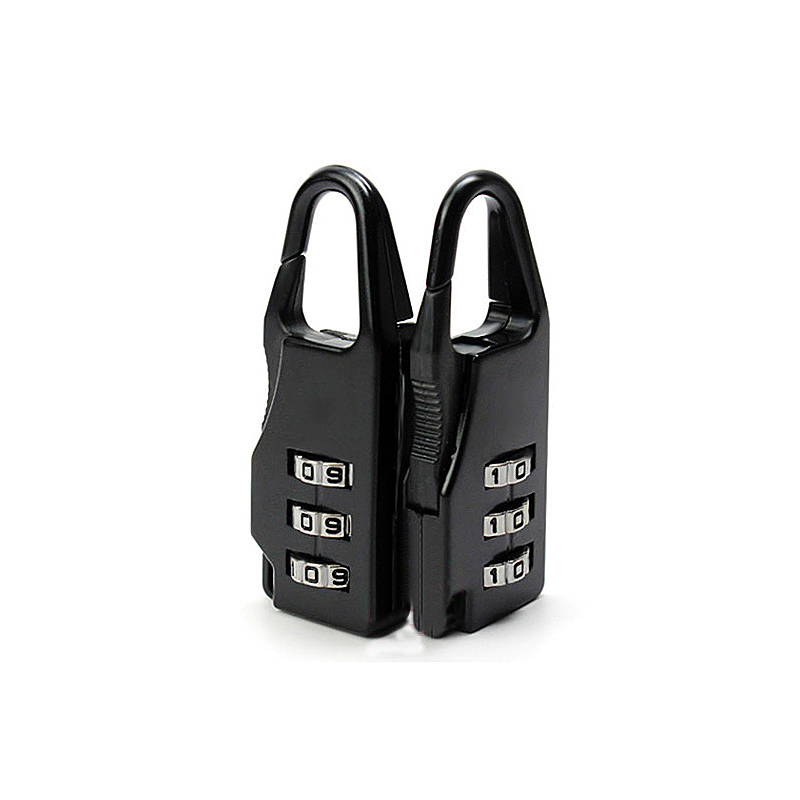 3 Digits Combination Travel Suitcase Luggage Bag Code Lock Padlock - Black