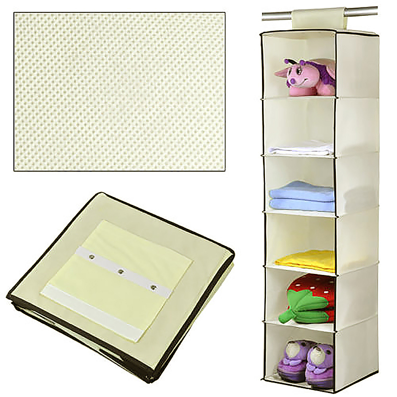 6 Tiers Hanging Wardrobe Section Shoes Organiser Clothes Storage