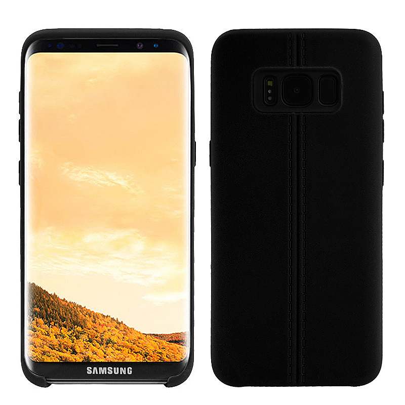TPU Soft Back Phone Case Shockproof Protect Cover Shell for Samsung S8 - Black