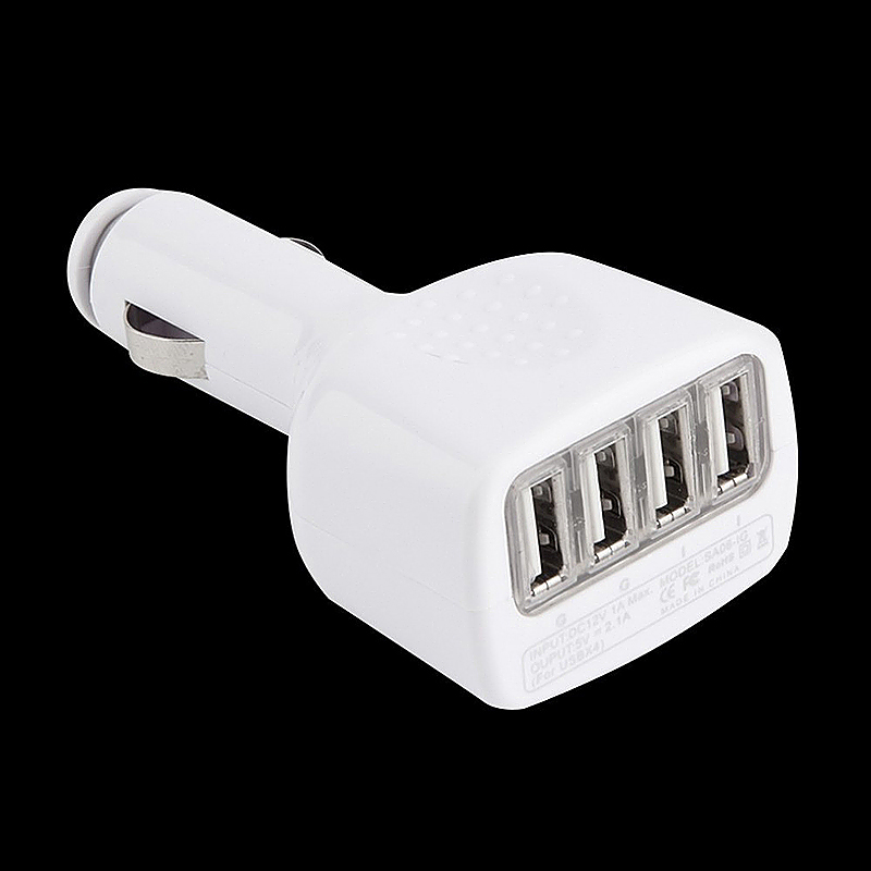 2.1A Output 4 USB Port Car Charger Cigarette Lighter Socket Adapter for Smartphones - White