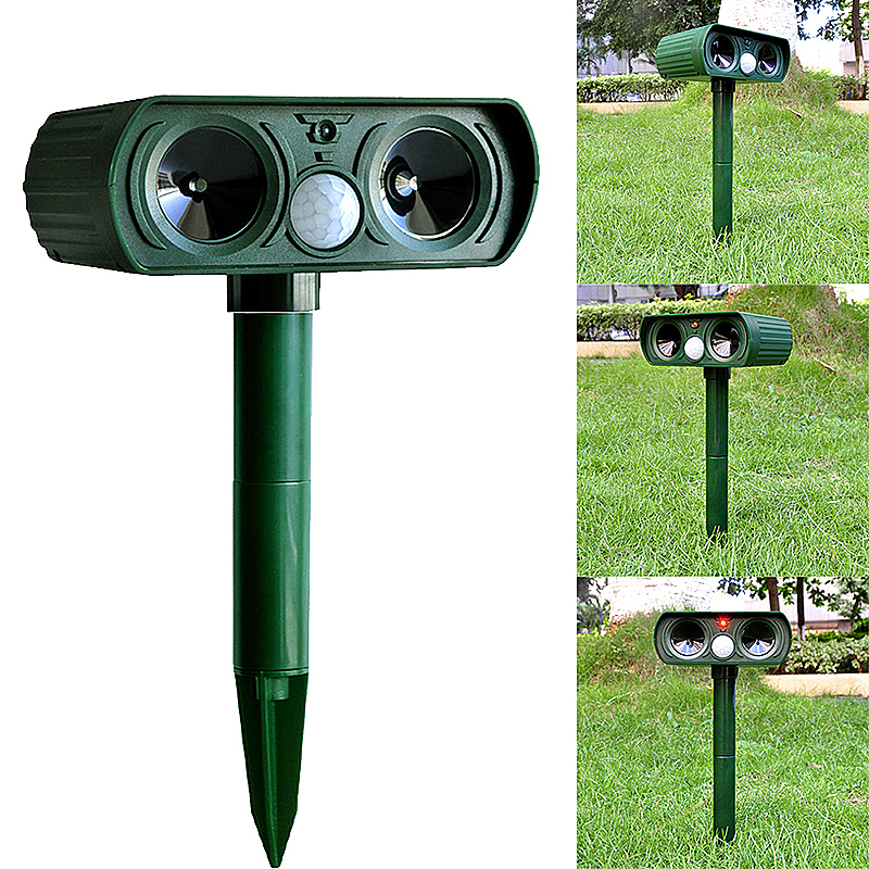 Solar Ultrasonic Pest Animal Digital Repeller Garden Cat Dog Fox Repellent