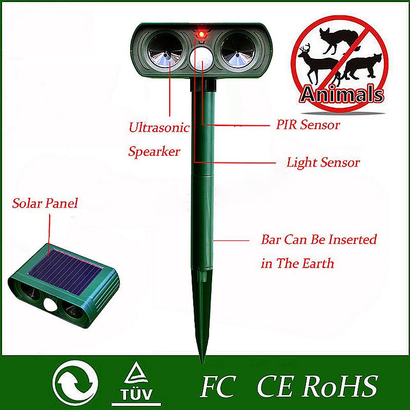 Solar Ultrasonic Pest Animal Digital Repeller Garden Cat Dog Fox Repellent