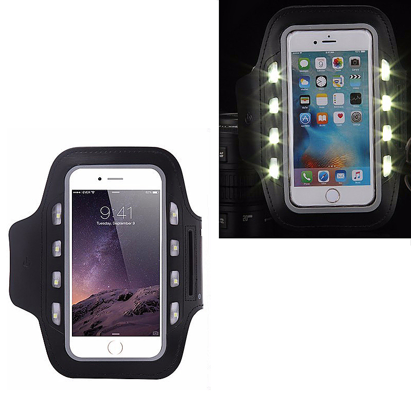 Outdoors LED Sport Running Armband Phone Case for iPhone 6 6S 4.7inch - Black