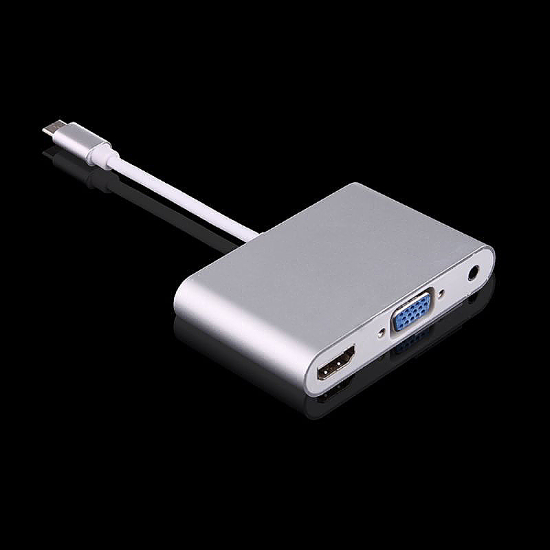 USB 3.1 Type-C to VGA HDMI 3.5mm Video Audio Adapter for Laptop
