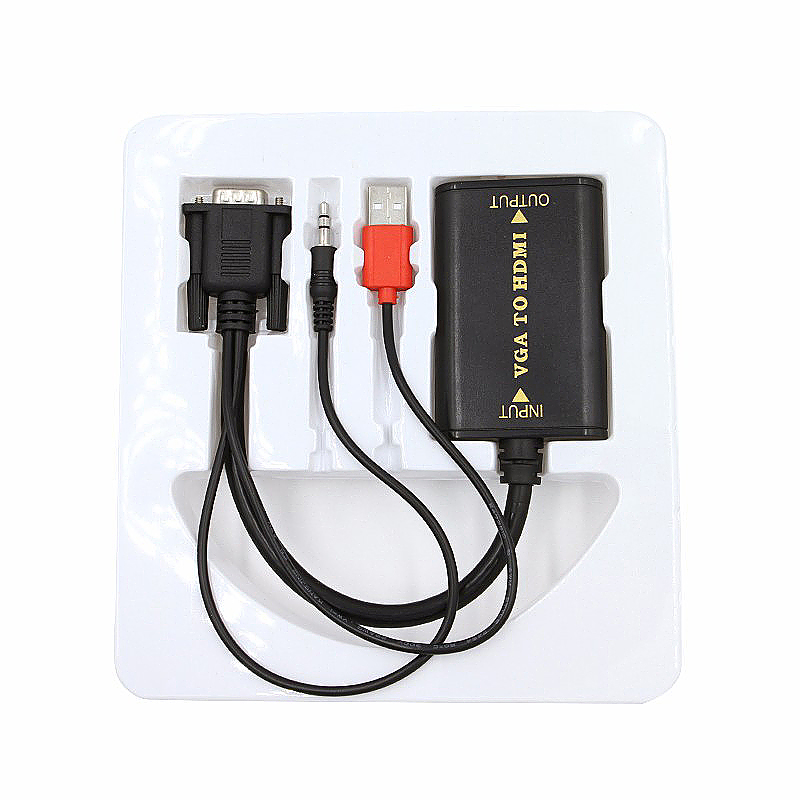 USB VGA Male to HDMI Male Video Audio Adapter with Audio Cable