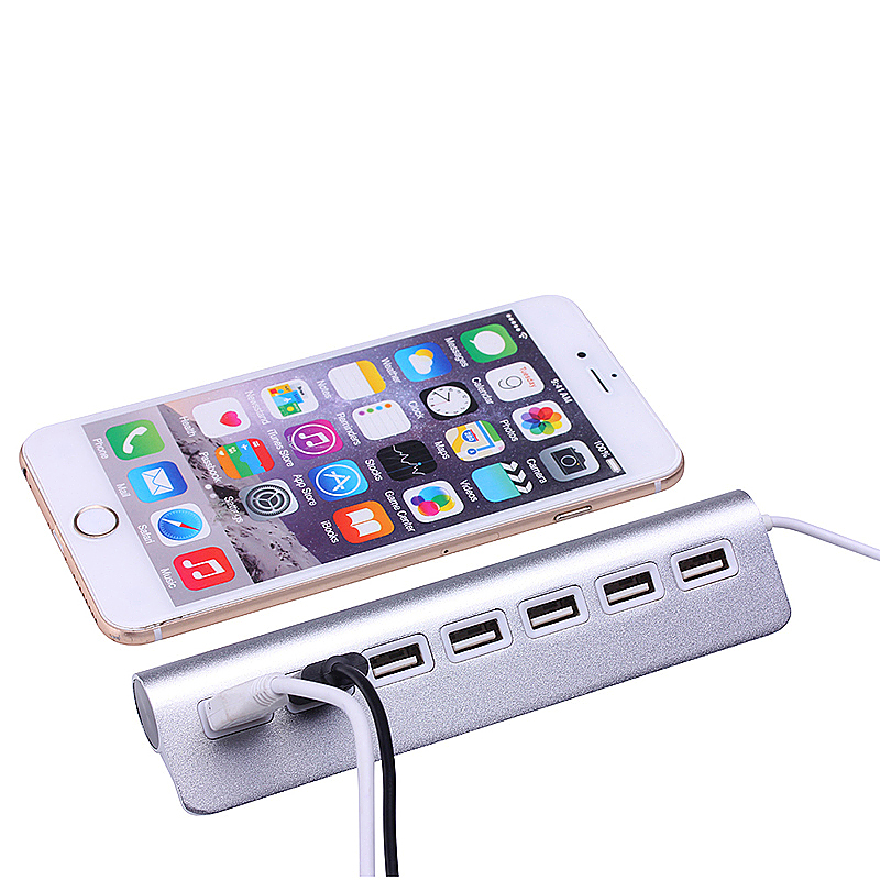 Aluminum Alloy USB 2.0 7 Ports Aluminum Charger Adapter Hub for Mac PC Laptop