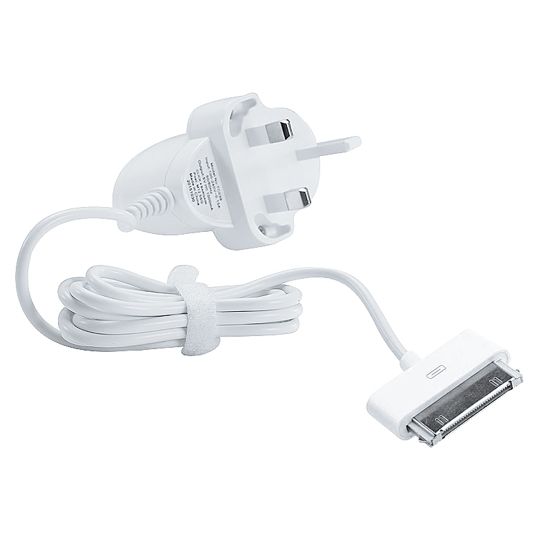 TC018 1A Wall Charger with Cable for iPhone 3G/4S UK Plug - White