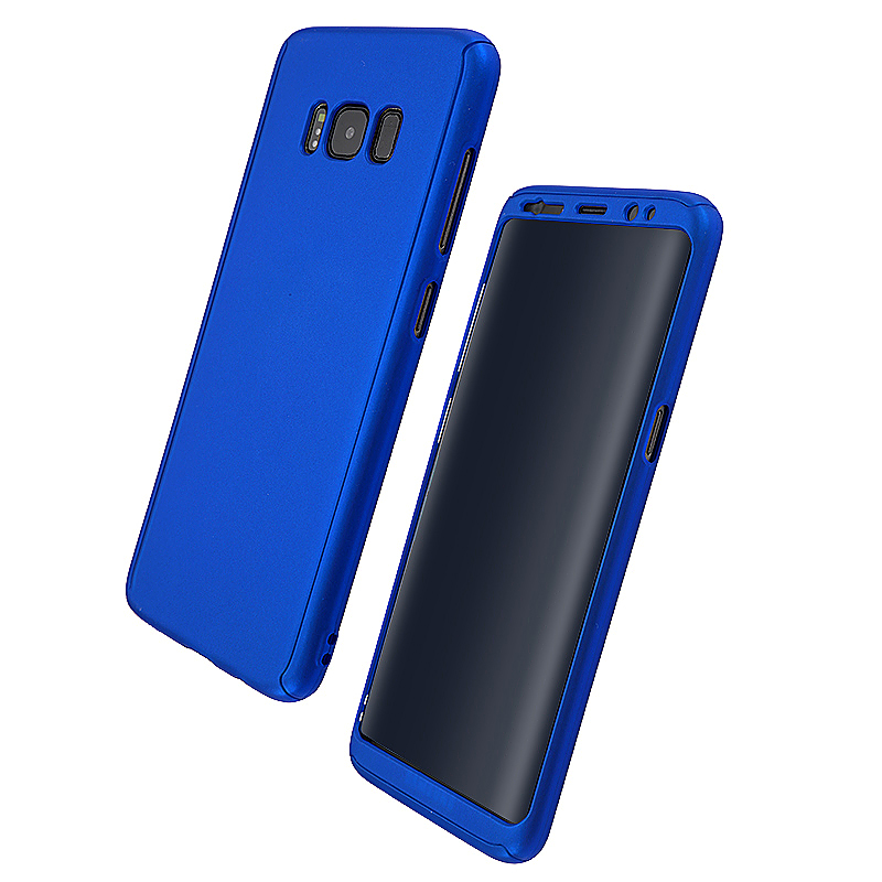 360 Full Coverage Hard PC Phone Case Front + Back Cover Shell for Samsung S8 Plus - Blue