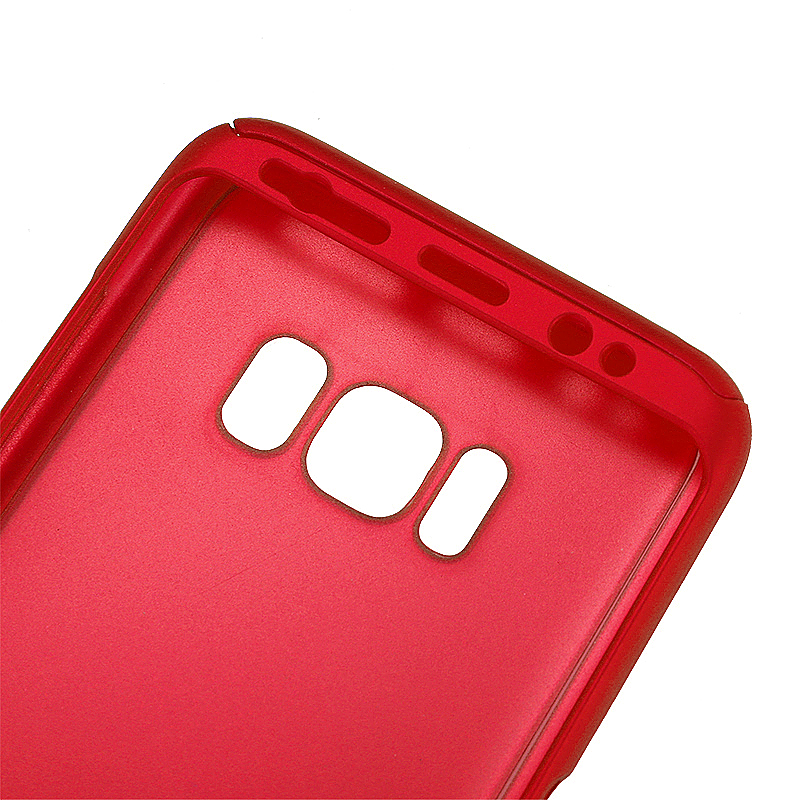 360 Full Coverage Hard PC Phone Case Front + Back Cover Shell for Samsung S8 Plus - Red