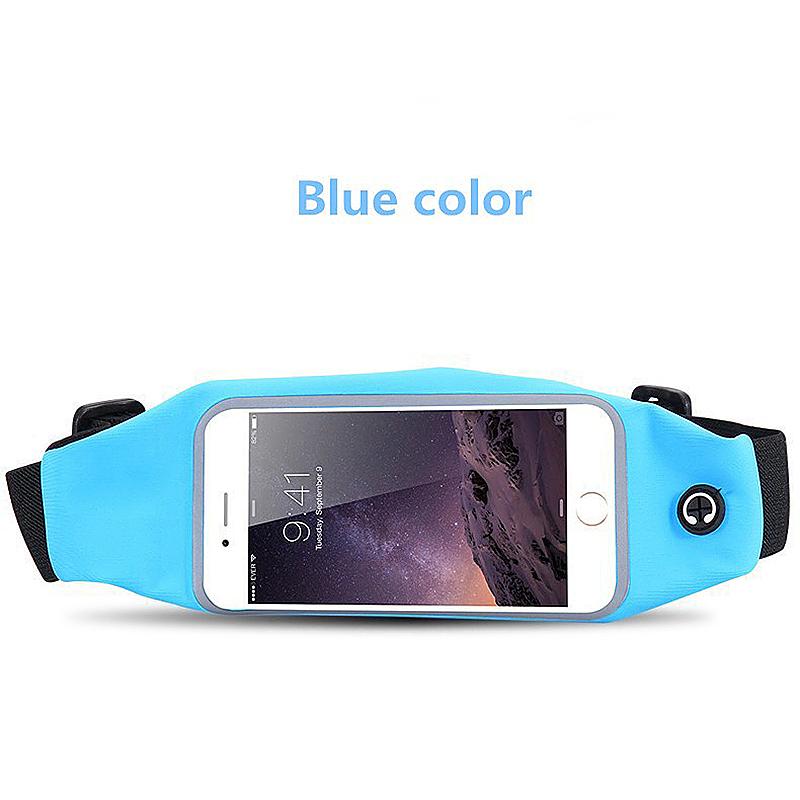 Sports Running Waterproof Waist Bag Touchscreen Phone Case for 4.7inch Smartphones - Blue