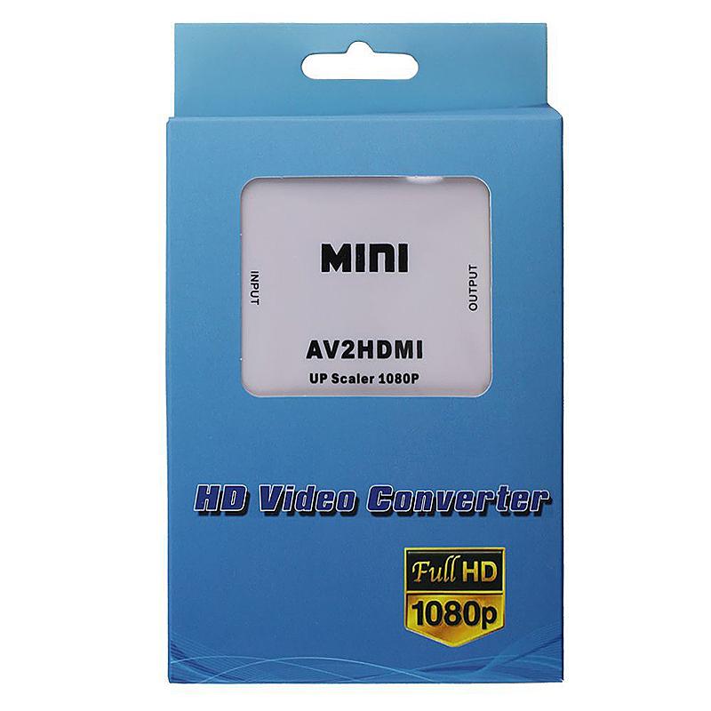 AV Male to HDMI Female Converter Adapter 1080P Mini Audio Converter - White