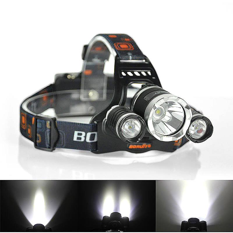 3 LED Cree XM-L T6 Headlight Head Lamp High Power LED Headlamp with Charger Set