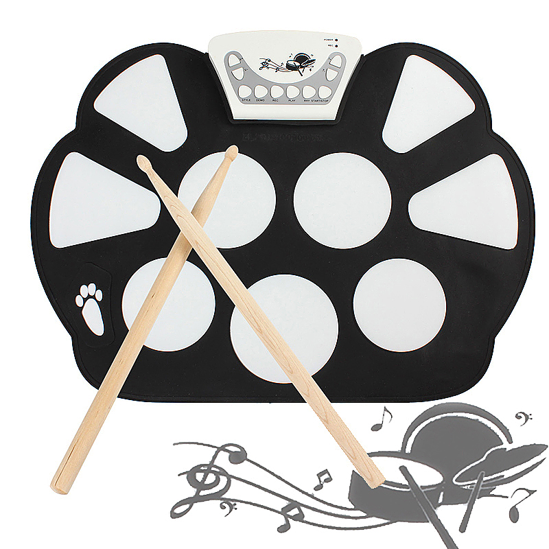 Digital Portable 9 Pad Musical Instrument Electronic Roll-up Drum Kit