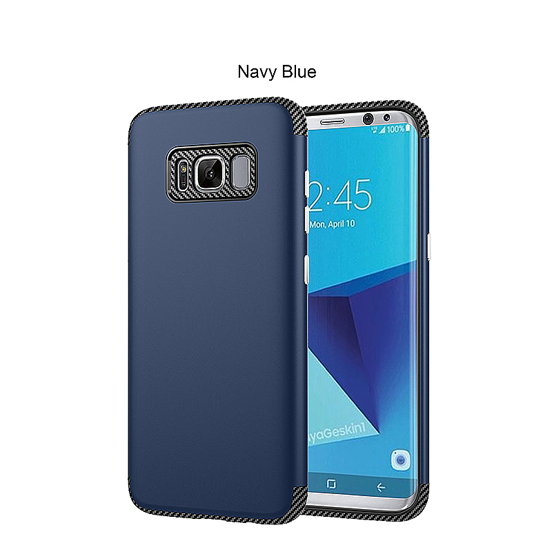 Samsung 2 in 1 Hybrid TPU Soft Case Cover Plastic Frame Shell for Samsung S8 - Dark Blue