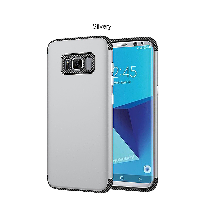 2 in 1 Hybrid TPU + PC Phone Cover Anti-Scratch Protective Case for Samsung S8 Plus - Silver