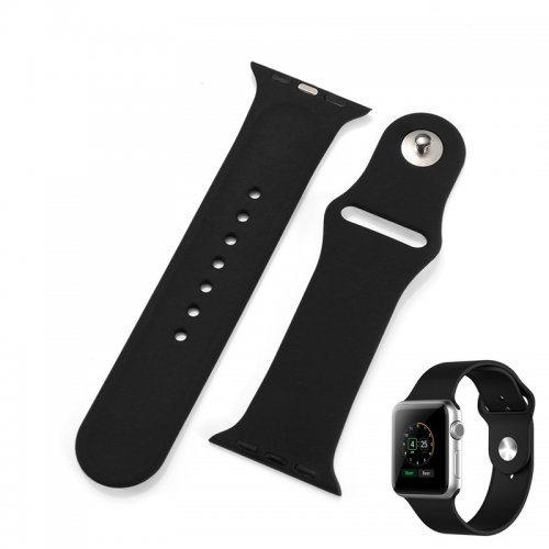Soft Sillicone Rubber Watchband for Apple iWatch 42mm - Black