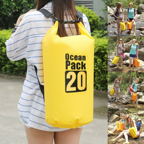 20L Outdoor Waterproof Sport Swimming Camping Hiking Dry Bag Pouch - Yellow