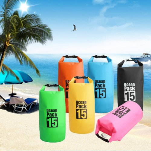 15L Waterproof Backpack Dry Bag Pouch for Sports Boating Camping Hiking - Green