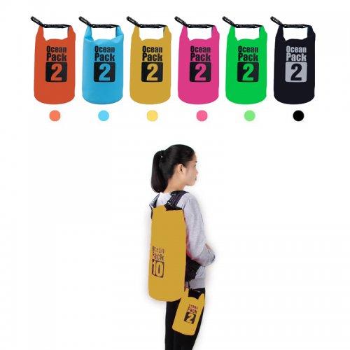 2L Waterproof Camo Dry Bag Outdoor Sports Swimming Rafting Bag - Yellow