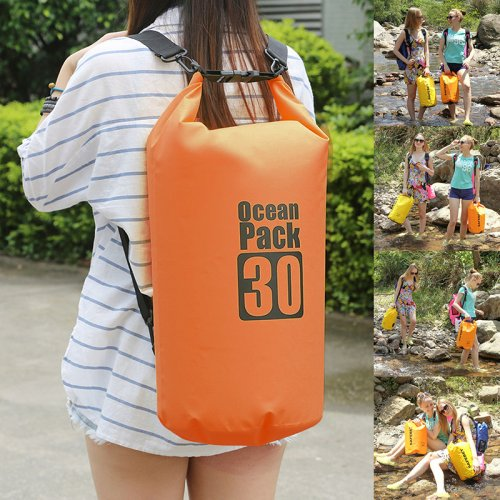 30L Waterproof Dry Bag Outdoor Sport Swimming Rafting Carry Bag - Orange