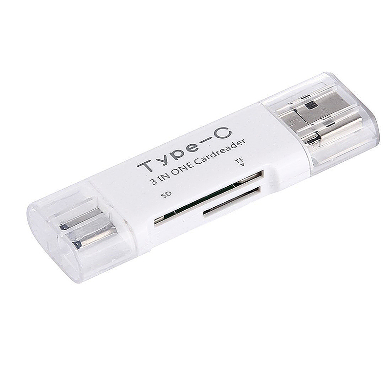 3 in 1 Android Type-C USB OTG TF SD Card Reader for Smartphones PC - White