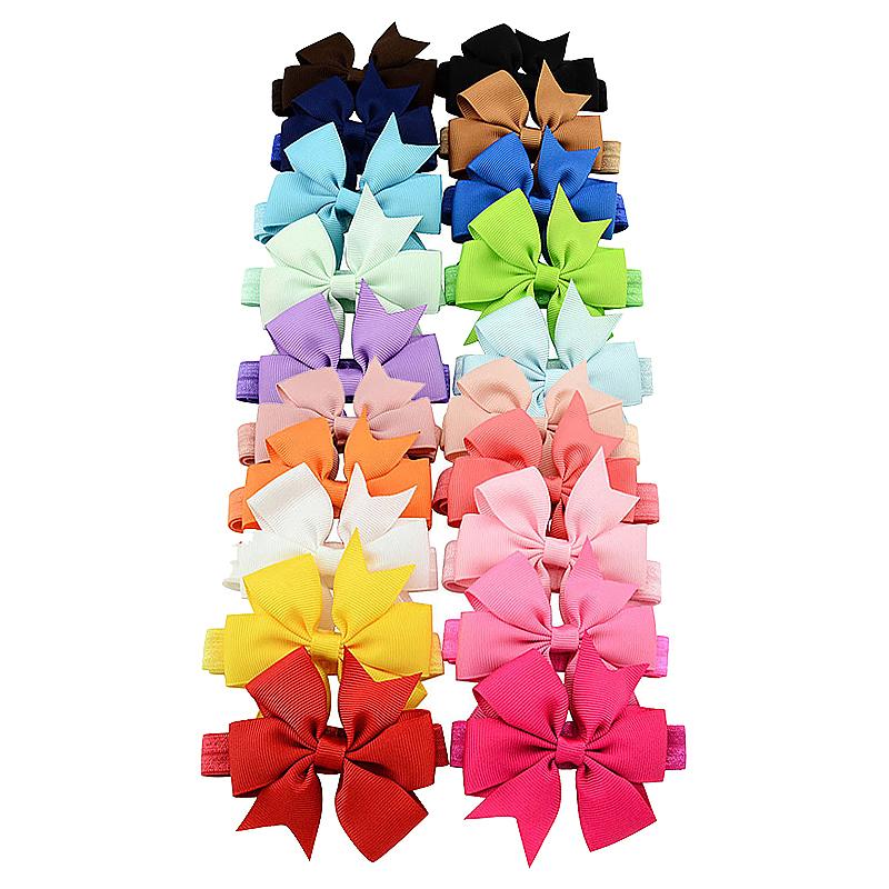 20pcs Kids Bows Elastic Hair Band Newborn Small Bowknot Hair Decor Headband Assorted Colours