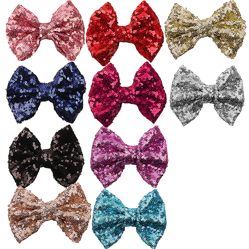 20pcs Big Bows Shiny Sequined Hair Pin Grosgrain Clips Hair Decor for Girls Assorted Color