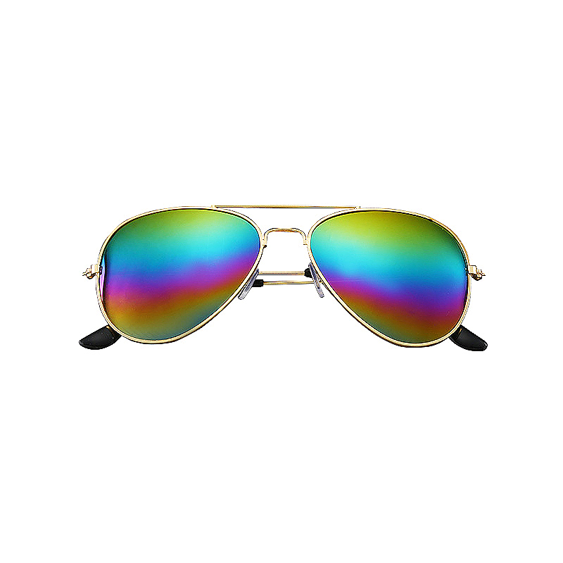 Fashion Boys Kids Sunglasses UV Protection Aviator Style Sunglass - Rainbow Colour with Gold Frame