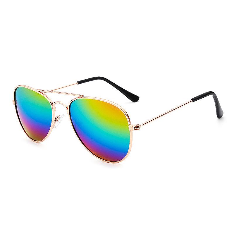 Fashion Boys Kids Sunglasses UV Protection Aviator Style Sunglass - Rainbow Colour with Gold Frame