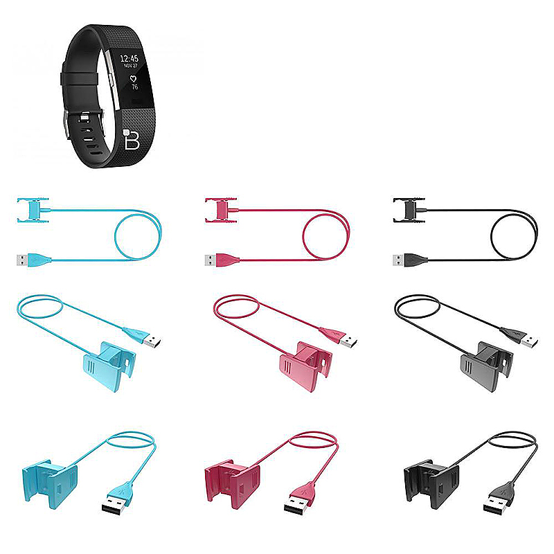 1m Fitbit Charge2 Smartband USB Charging Cable Wall Car Charger Cable Cord - Rose Red