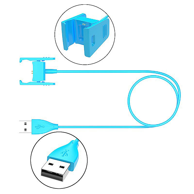55cm Replacement USB Power Charger Cable for FitBit Charge 2 Smartband Bracelet - Blue
