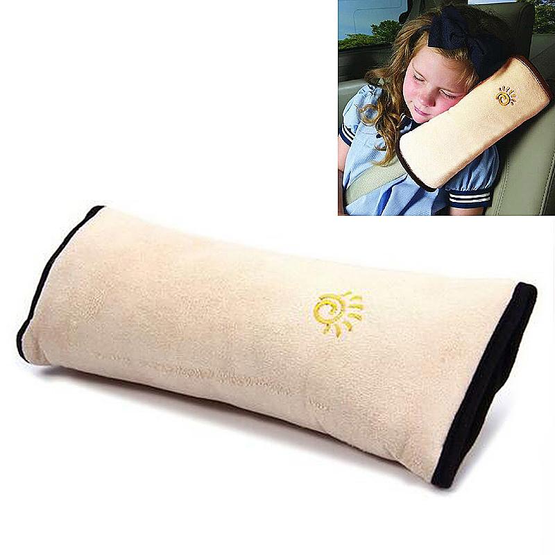 Children Car Seat Belt Shoulder Cushion Pad Sleep Pillow Head Neck Protector for Child Kids - Beige