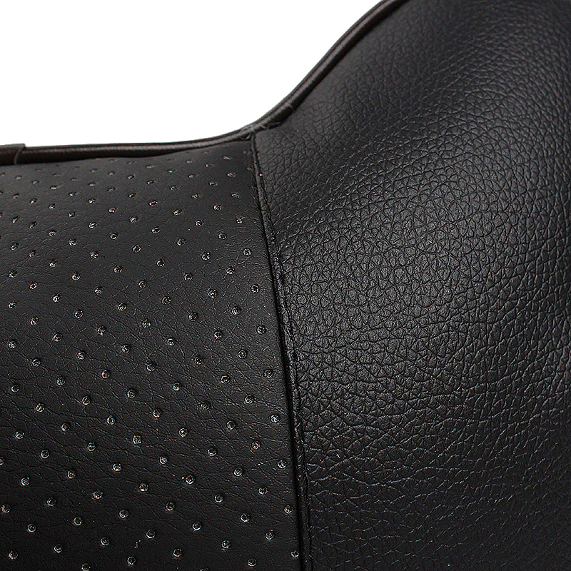 Car Seat Neck Pillow PU Leather Hole-digging Breathable Car Headrest Neck Supporter - Black