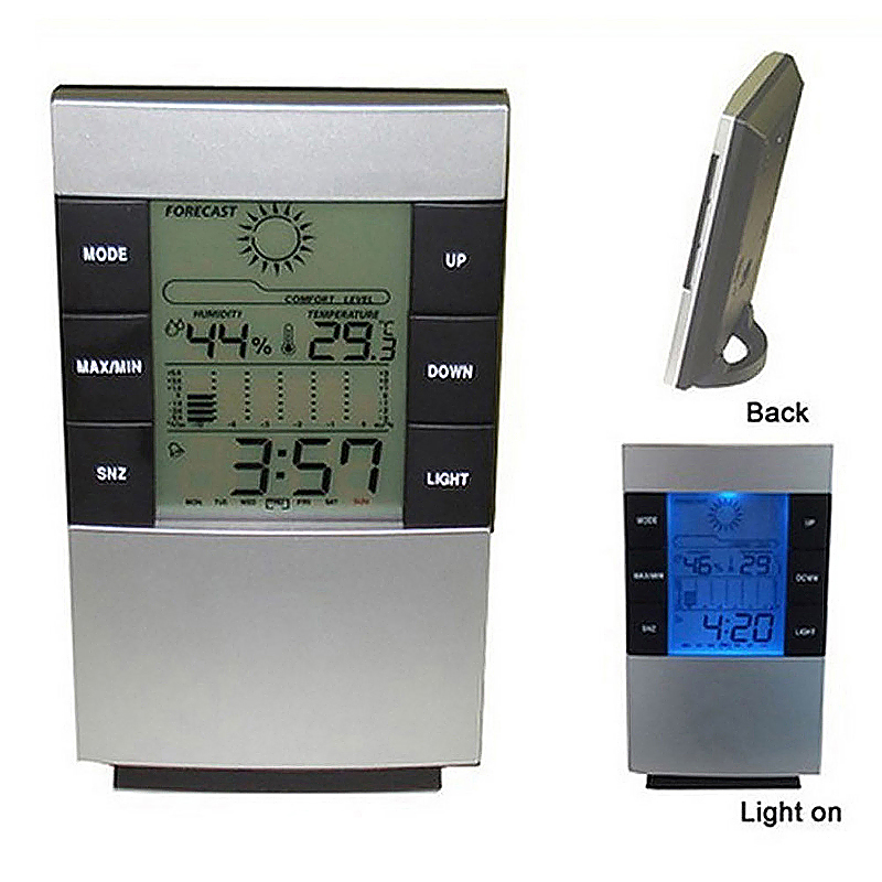 Digital LCD Thermometer Humidity Meter Room Temperature Hygrometer Clock