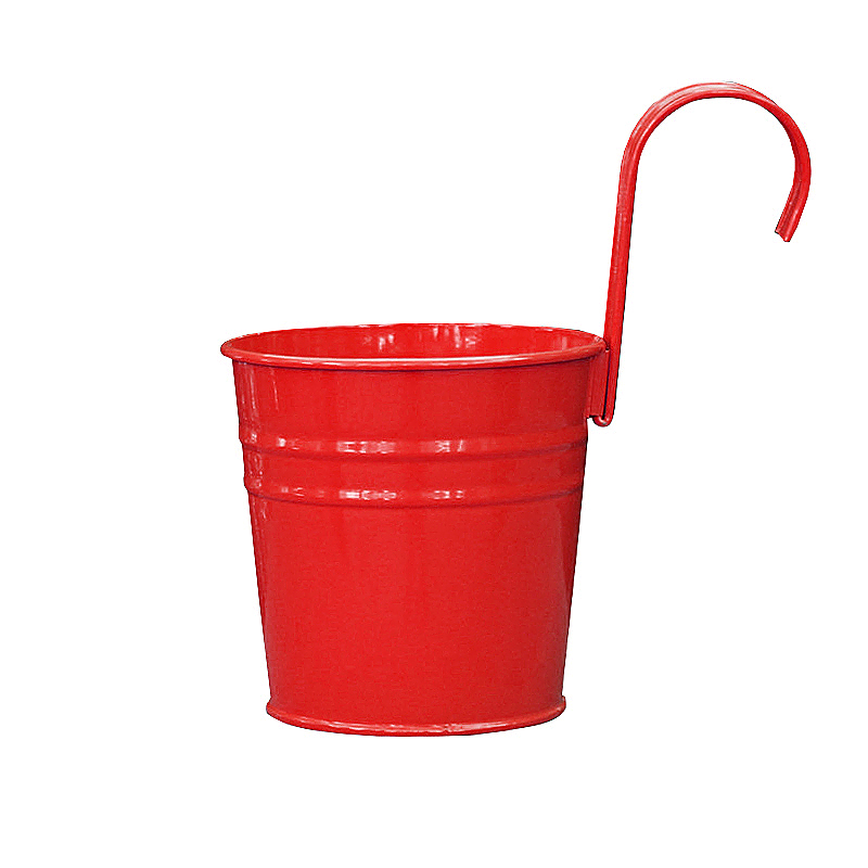 Flower Pot Hanging Balcony Garden Plant Metal Iron Planter for Home Decor - Red