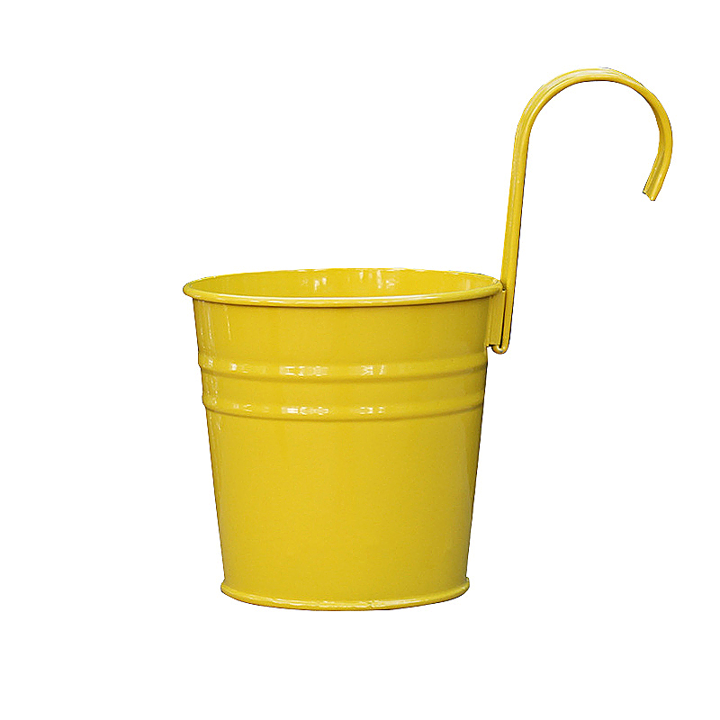 Flower Pot Hanging Balcony Garden Plant Metal Iron Planter for Home Decor - Yellow