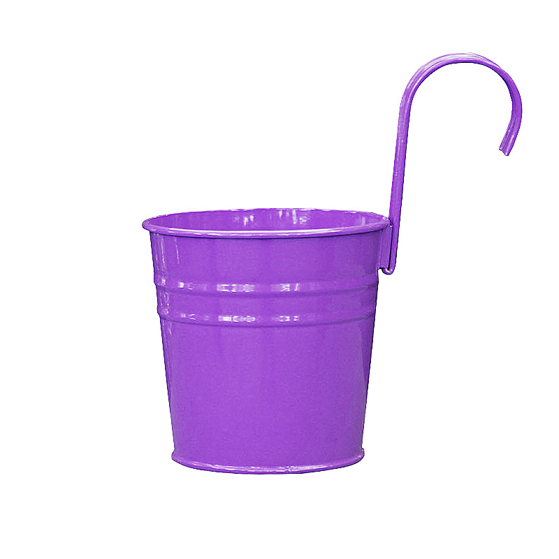 Flower Pot Hanging Balcony Garden Plant Metal Iron Planter for Home Decor - Purple