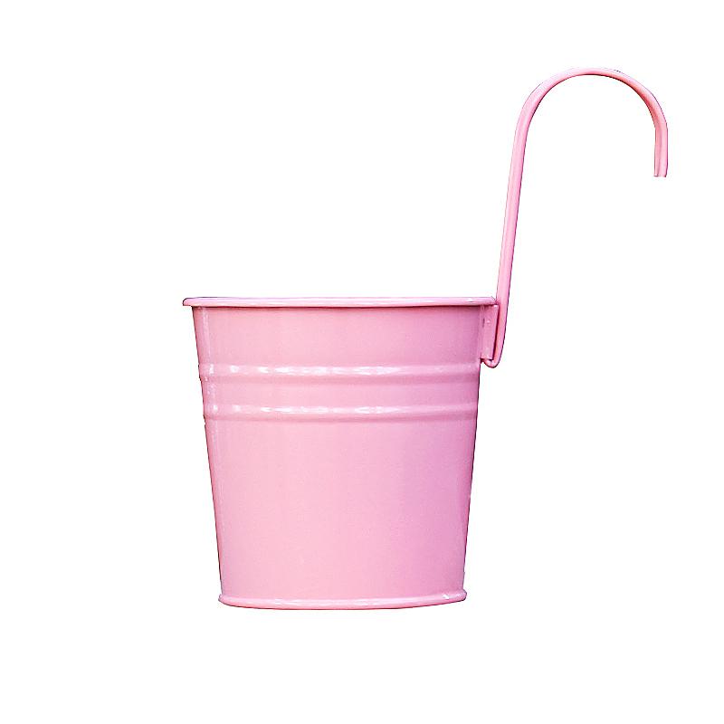Flower Pot Hanging Balcony Garden Plant Metal Iron Planter for Home Decor - Pink