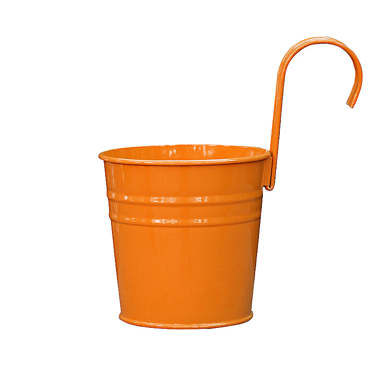 Flower Pot Hanging Balcony Garden Plant Metal Iron Planter for Home Decor - Orange