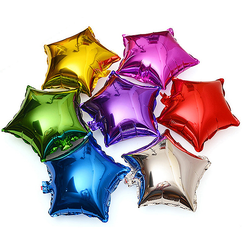 18inch Plain Coloured Star Foil Balloons Party Wedding Home Decor - Silver