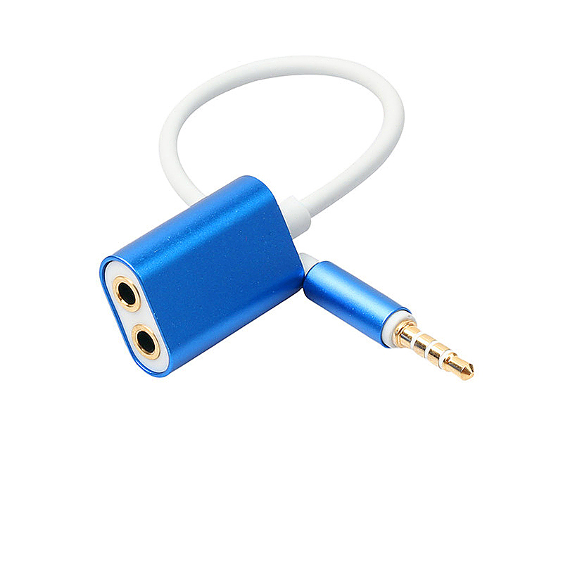 3.5mm Audio Stereo Y Splitter Cable Male to Female Headphone Splitter Adapter Cable - Blue