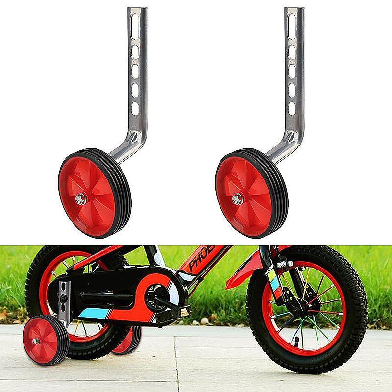 1 Pair Kids Bicycle Stabilisers 12-20inch Universal Children Bike Training Wheels - Red