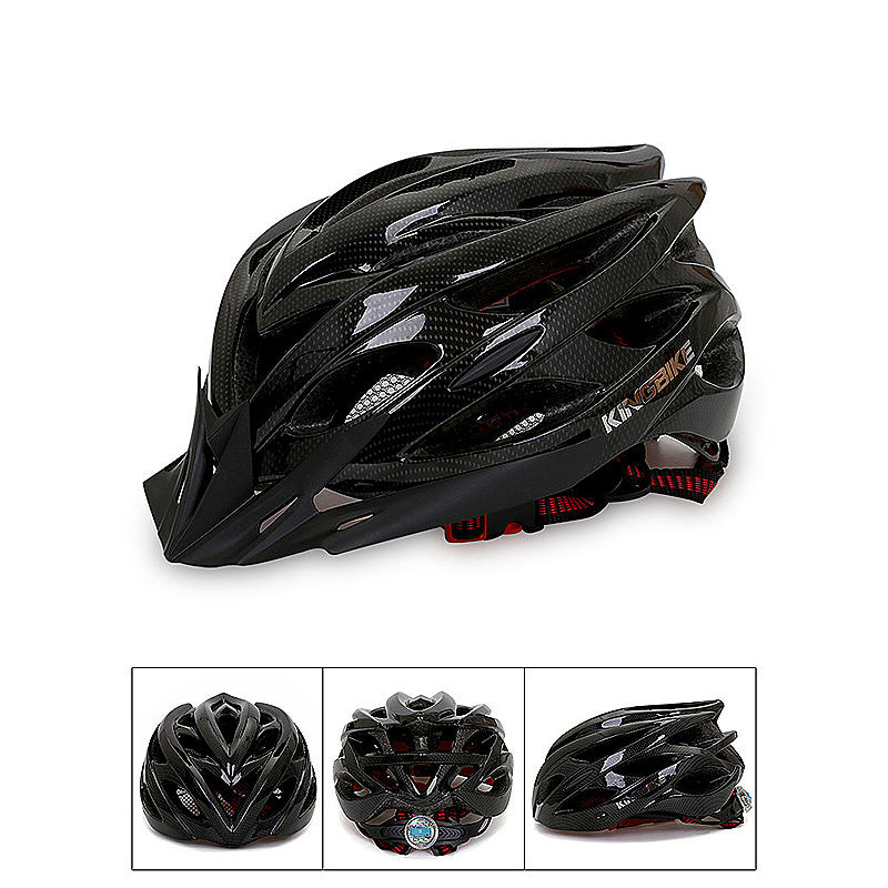 Unisex Bicycle Helmets with Back Light Mountain Road Bike Molded Cycling Helmets - Carbon Fiber Grain