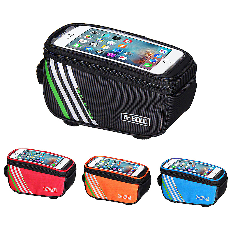 5.7inch Bicycle Bags Waterproof Touch Screen Cycling Pouch Mobile Phone Storage Bag - Orange