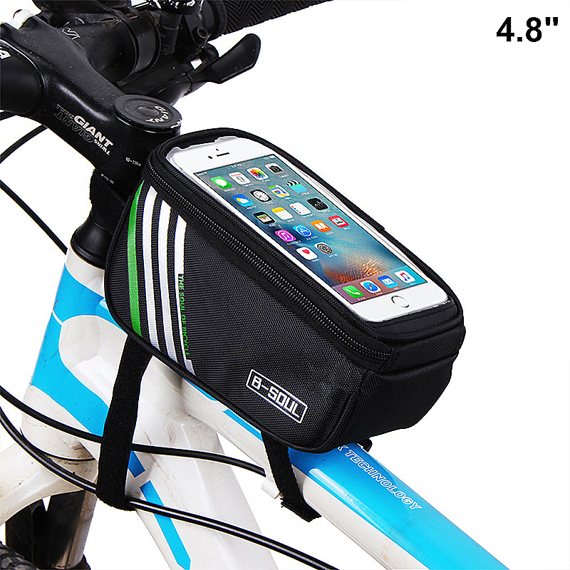 4.8inch Bike Bicyle Front Top Mobile Phone Storage Bag Touch Screen Phone Protective Pouch - Black